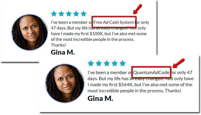 Free Ad Cash System Fake Testimonial